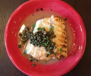 Crusted Halibut with Caper White Wine Sauce