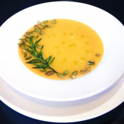Creamy Butternut Squash Soup with Fresh Rosemary and Basil
