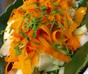 Shaved Carrot, Radish, and Green Apple Salad with Lemon and Fresh Mint