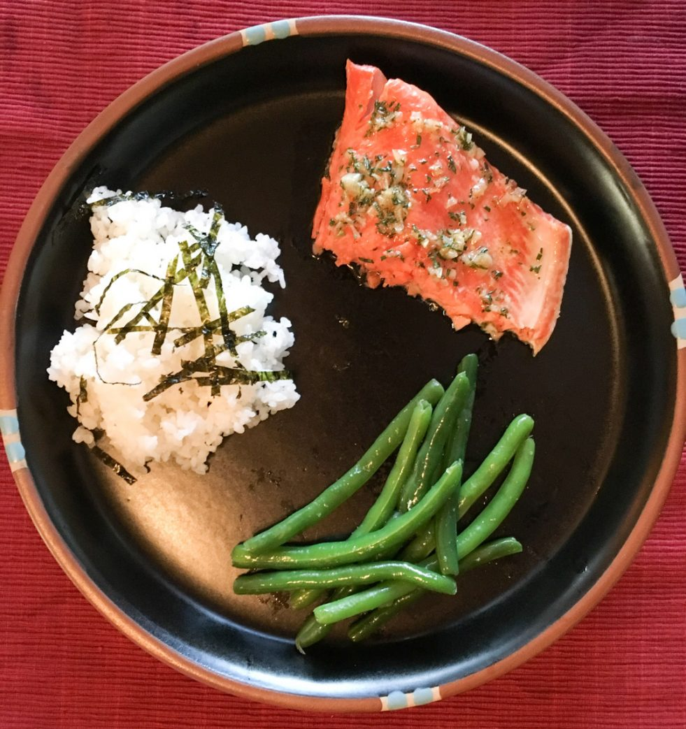 photo of wild caught maple roasted salmon, green beans, and rice