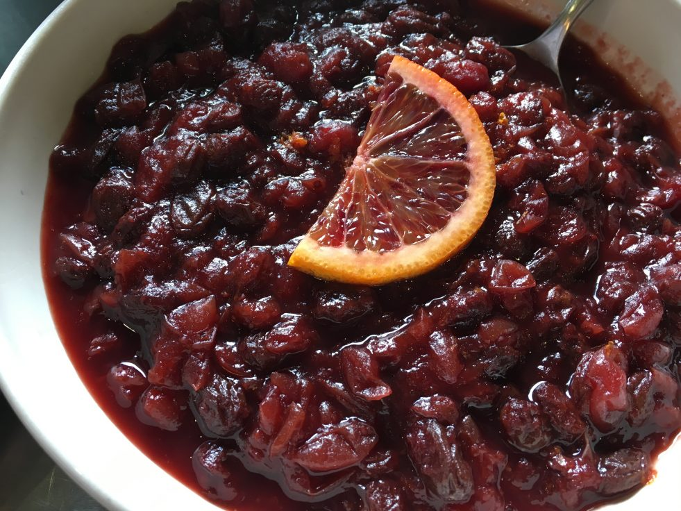 photo of cranberry sauce with orange slice