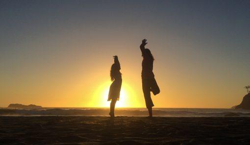 Rachel & Isabel Yoga on Beach