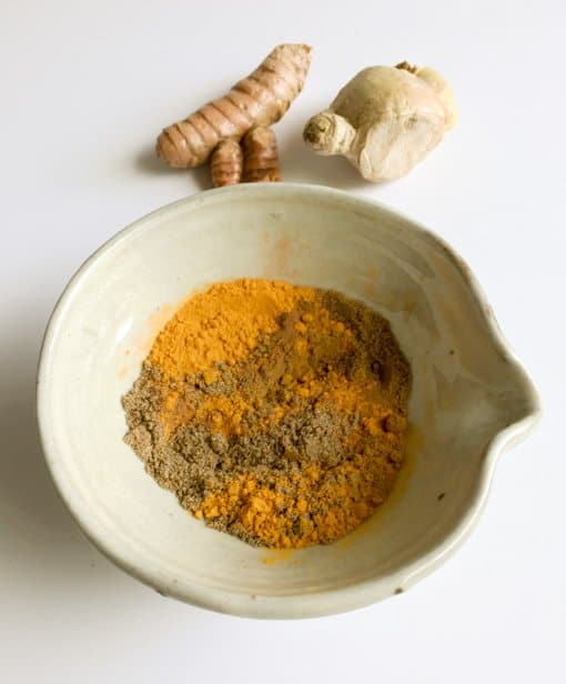 fresh ginger and bowl of spices for Kabocha Squash and Red Lentil Curry