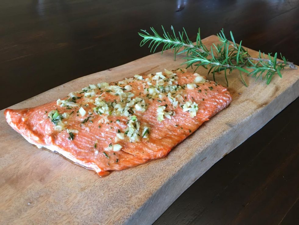 photo of baked wild salmon with rosemary and garlic