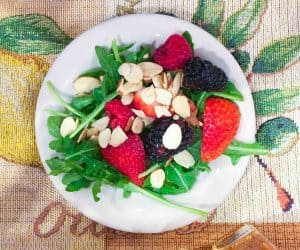 Baby Arugula Salad with Berries and Lemongrass Mint Vinaigrette