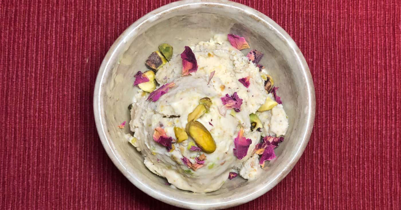 Pistachio and Rose Petal Coconut Ice Cream • Cook Love Heal by Rachel Zierzow