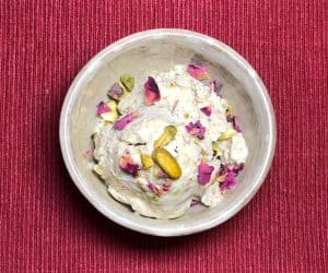 Pistachio and Rose Petal Coconut Ice Cream (vegan, GF)